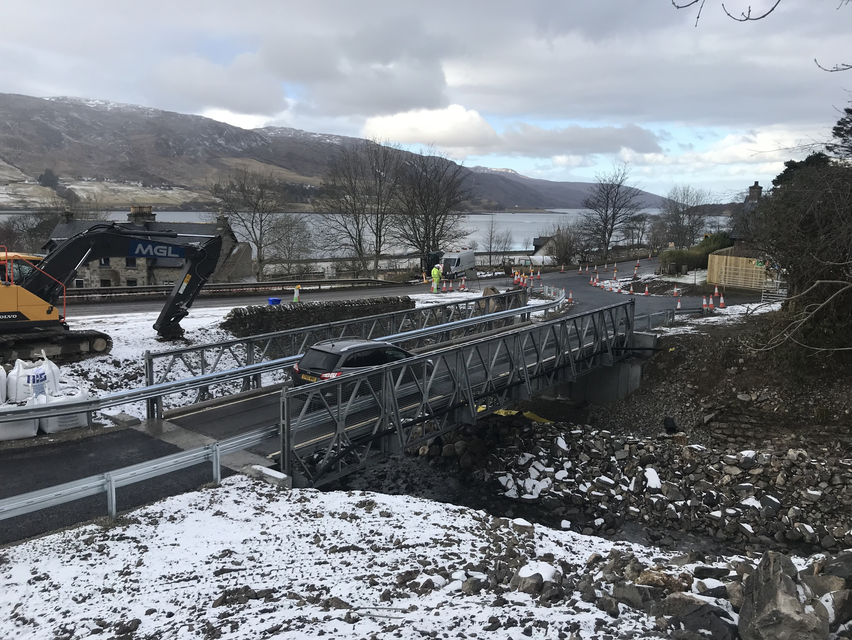 The temporary bridge has opened at Leckmelm.