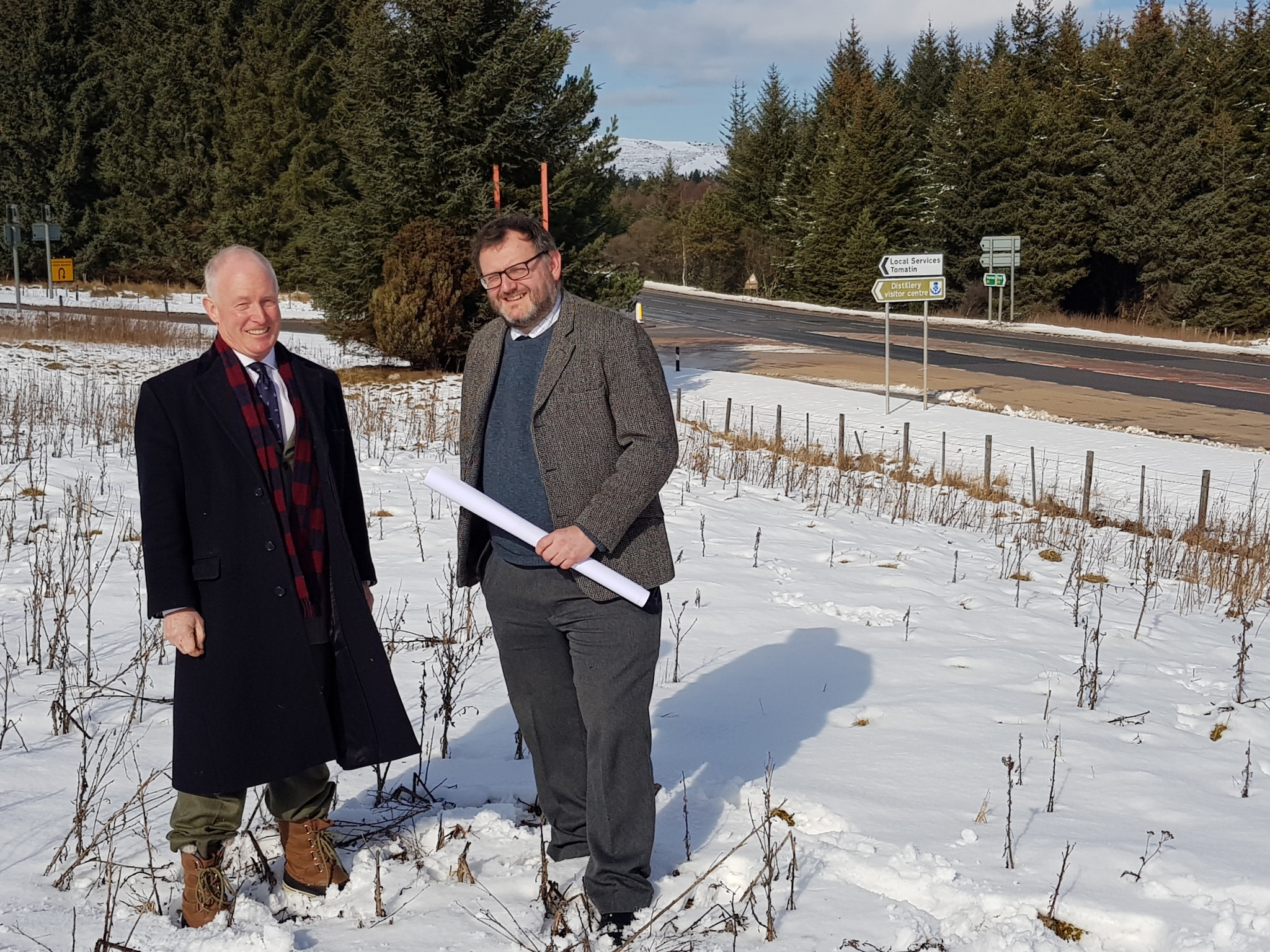 William Frame and architect Mark Fresson on the Tomatin site.