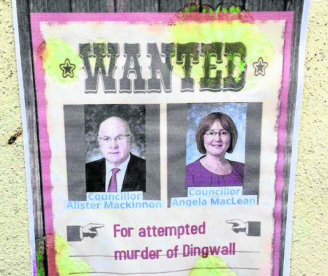 The wanted poster  This is Alister MacKinnon and Angela Maclean, both local councillors for Dingwall and Seaforth.