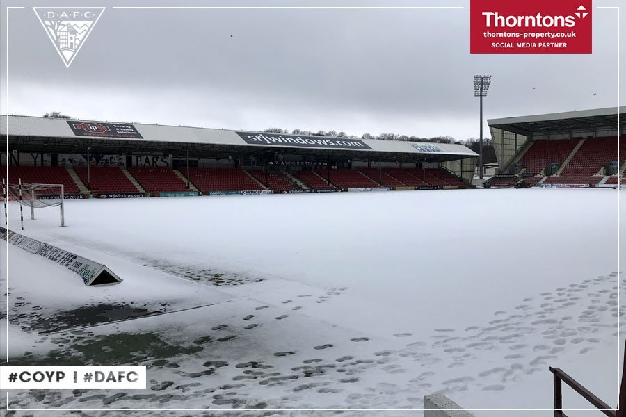 East End Park in Dunfermline is still covered in snow.
