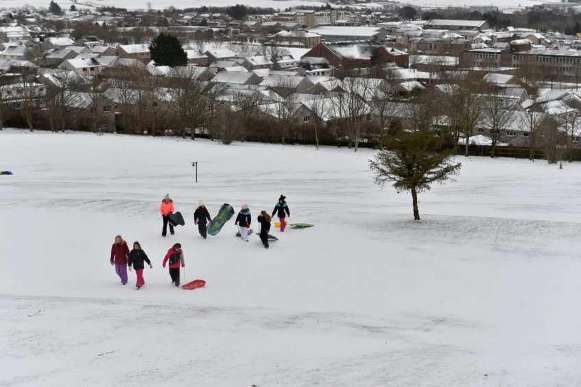 Westhill Golf Course was turned into a winter wonderland as sledges descended on the slopes.