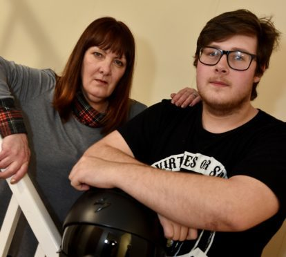Kemnay youth Ben MacKay had his motobike stolen. He is pictured with his mum Sally. Picture by COLIN RENNIE  March 15, 2018.