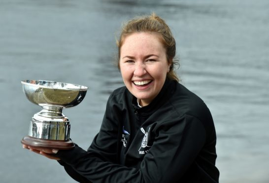 The Aberdeen Boat Race between Aberdeen University and Robert Gordon University. RGU were the winners. RGU President Erin Wyness with the trophy. Picture by COLIN RENNIE   March 17, 2018.