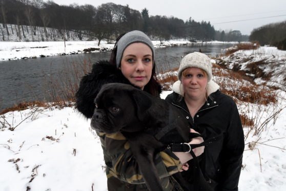 Debbie richmond, left and her friend Susan Liebnitz who jumped into the river to save Lemmy the pug pictured at River Don, Dyce, Aberdeen.