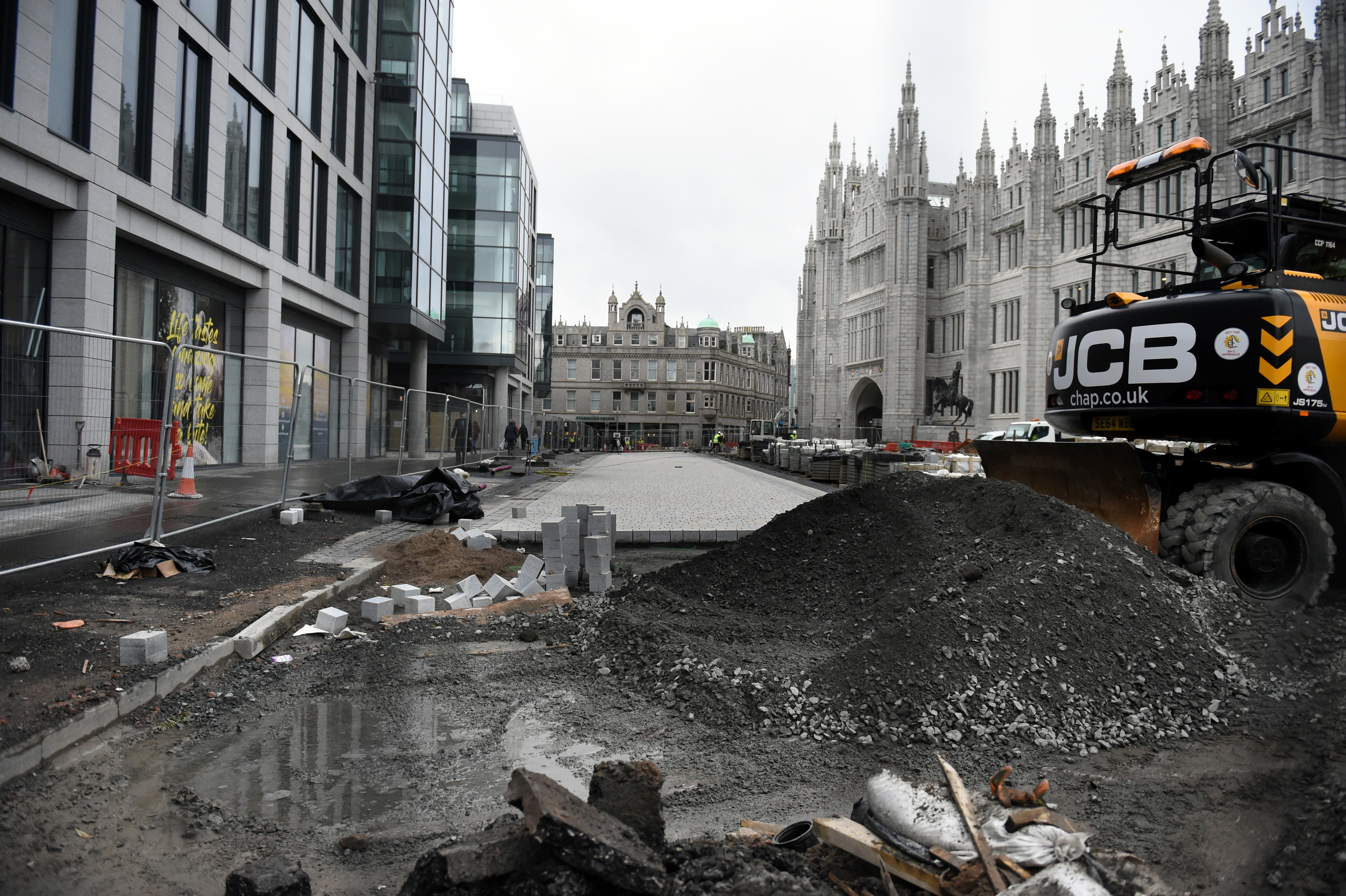 The works at Broad Street, Aberdeen in March.  Picture by Jim Irvine.