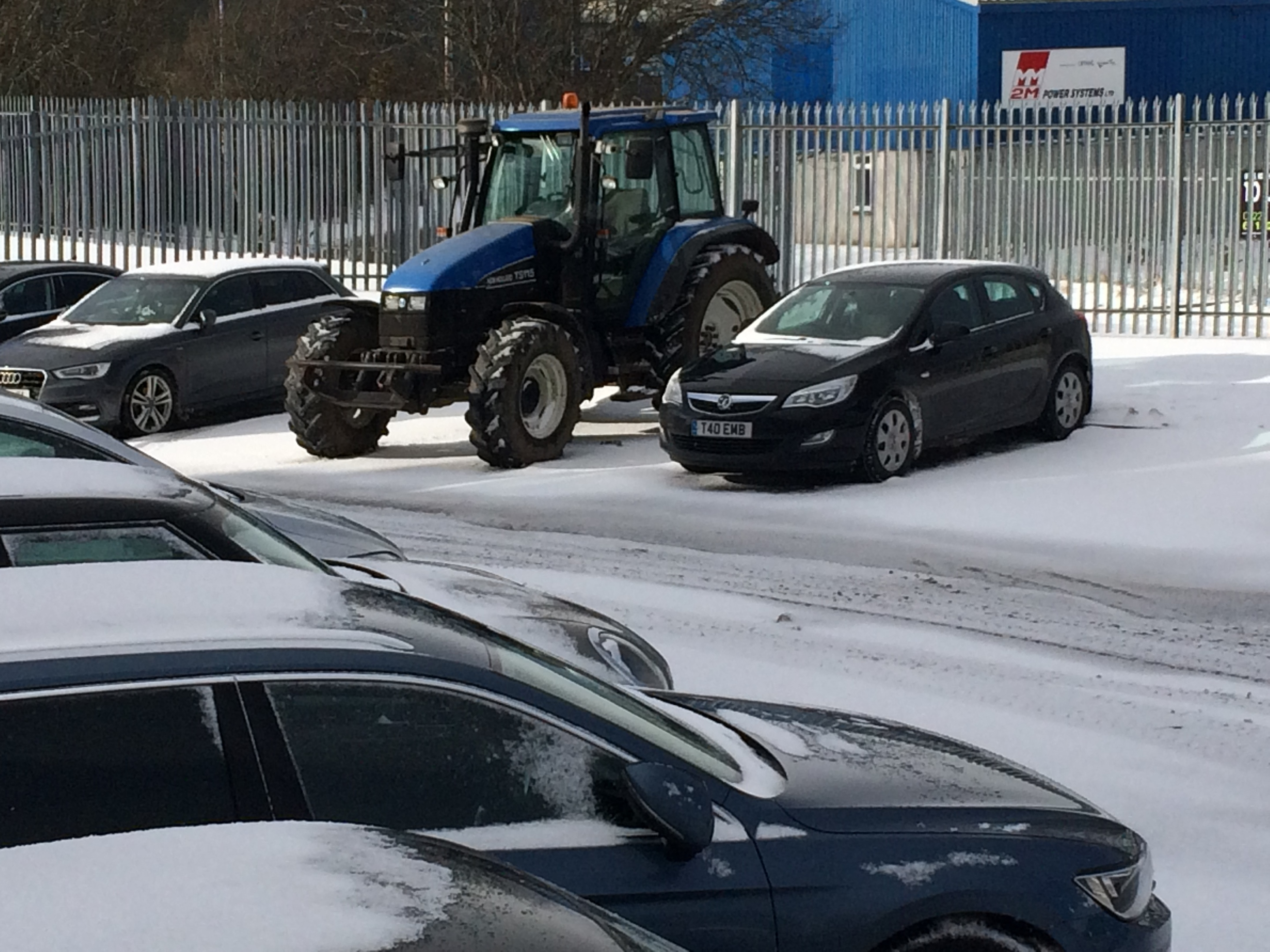 Sarah Phillips borrowed her dad's tractor to make it into work.