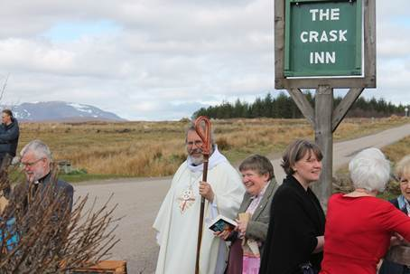 The Crask Inn, near Lairg in Sutherland. In white robes is the Most Rev Mark Strange, the Episcopalian Bishop of the United Diocese of Moray, Ross and Caithness.