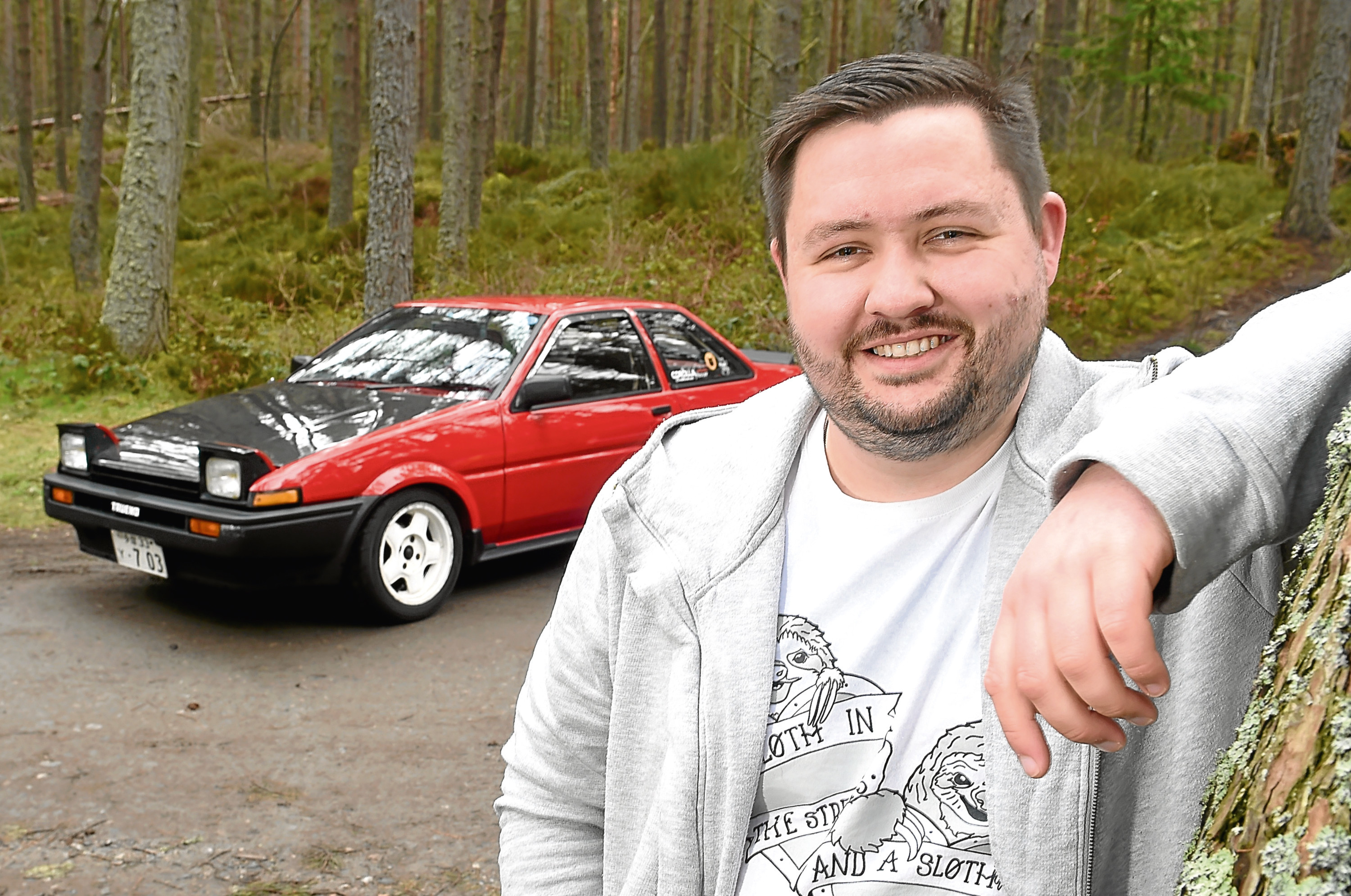 Callum Mcadam with his 1985 Toyota Sprinter Trueno that he bought in Japan and has restored himself