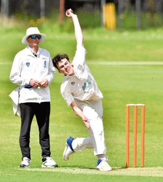 Aberdeenshire bowler Connor Shorten in action.