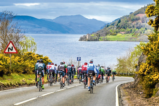 Riders in the Loch Ness Etape    Thousands of cyclists descended upon the Highlands as Etape Loch Ness  one of Scotlands most popular sporting events  returned to the roads around the iconic loch today (Sunday, April 23).  handout photo