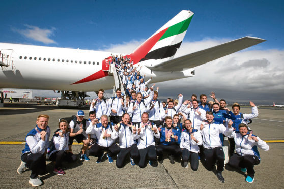 Handout photo dated 17/04/18 provided by Jeff Holmes of Team Scotland athletes arrive at Glasgow airport following the conclusion of the 2018 Gold Coast Commonwealth Games. PRESS ASSOCIATION Photo. Issue date: Tuesday April 17, 2018. See PA story COMMONWEALTH Scotland. Photo credit should read: Jeff Holmes/PA Wire. NOTE TO EDITORS: This handout photo may only be used in for editorial reporting purposes for the contemporaneous illustration of events, things or the people in the image or facts mentioned in the caption. Reuse of the picture may require further permission from the copyright holder.