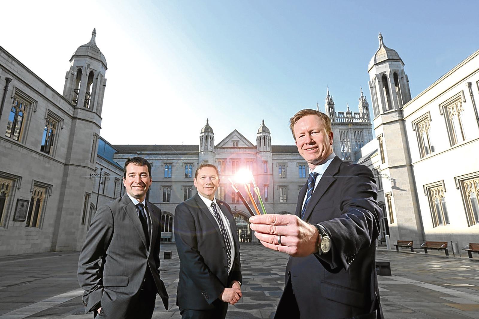 l-r Guilhem Poussot (Vodafone), Councillor Douglas Lumsden and Council leader Rob Hamlin at the launch of the CityFibre roll-out