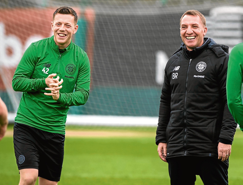 19/04/18   CELTIC TRAINING  LENNOXTOWN  Celtic's Callum McGregor (left) with Celtic manager Brendan Rodgers