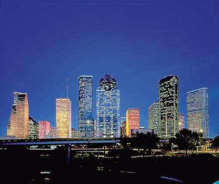 Houston's downtown skyline at night