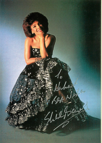 An autograph from Shirley Bassey