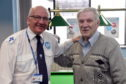 """The Aberdeen Seafarer's Centre led by Port Chaplain Howard Drysdale has started a fortnightly meeting """"Sea Shed"""" for seafarers.      Pictured - Port Chaplain Howard Drysdale (left) with Koos Bontes at the sea shed.   Picture by Kami Thomson."""
