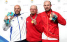 Aberdeen's Neil Stirton (left) with his silver medal. David Phelps (centre) took gold with England's Kenneth Parr earning bronze.