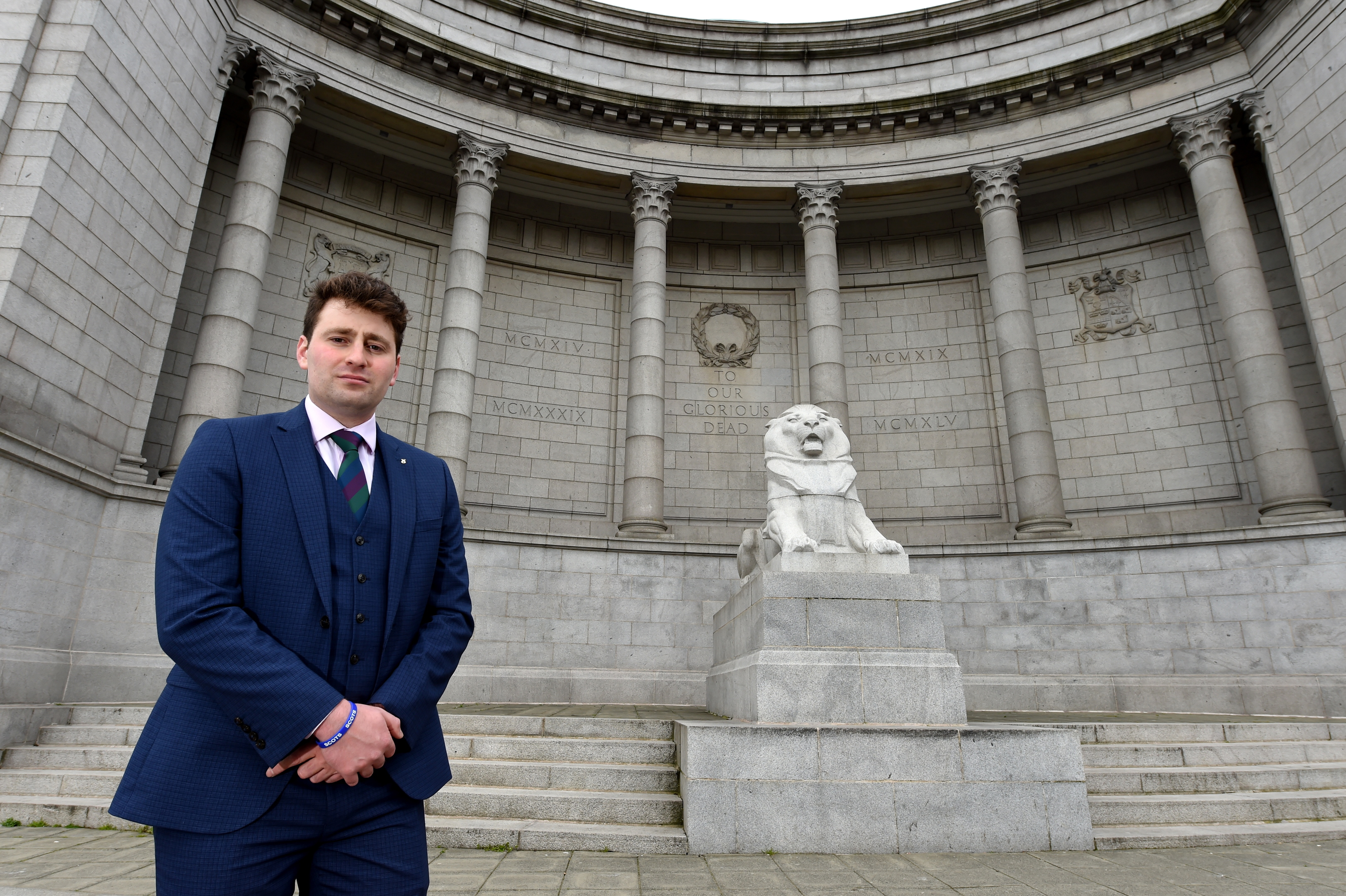 Councillor Michael Hutchison at the memorial.  Picture by Kenny Elrick.
