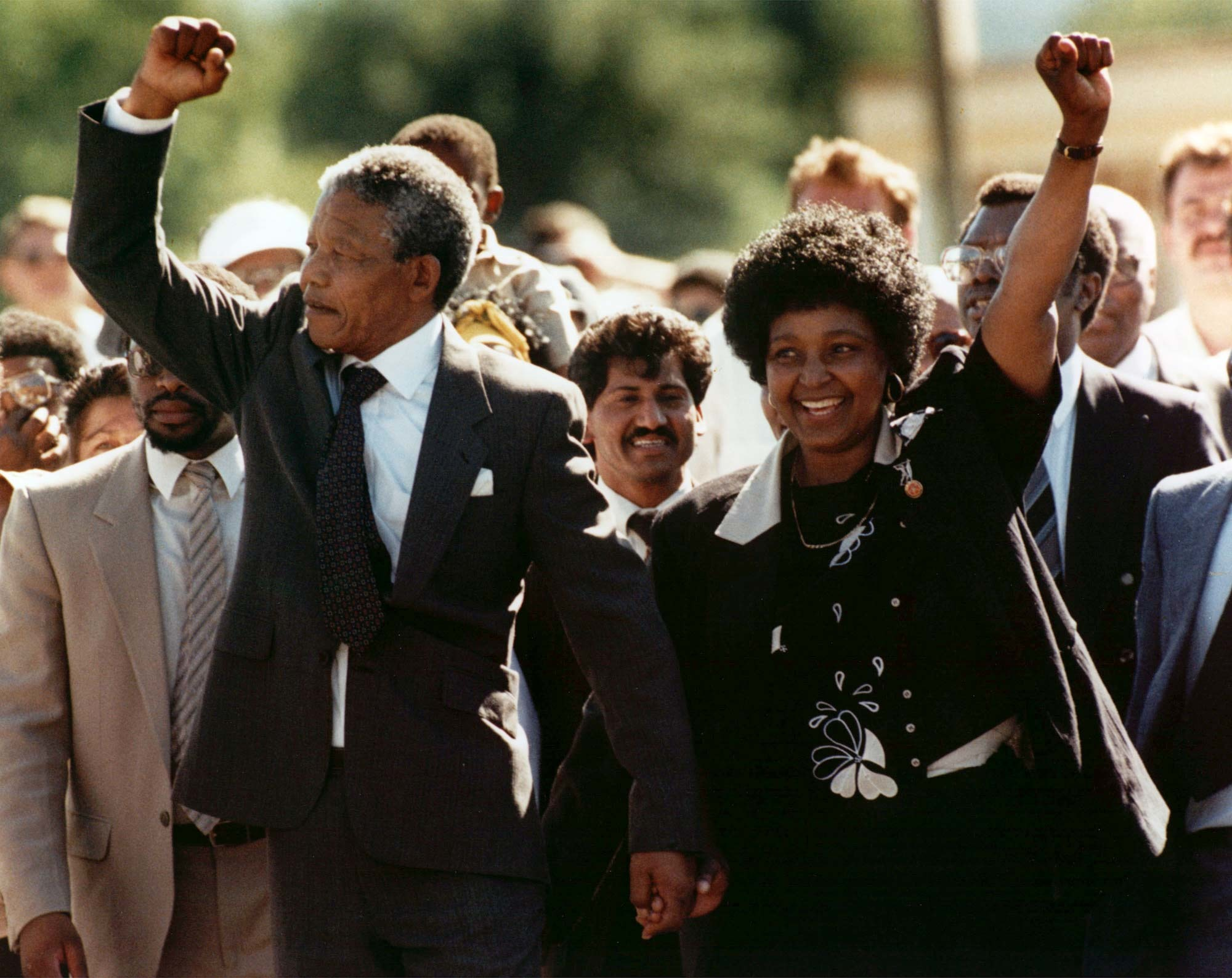 Winnie Mandela, walking hand in hand with her late husband Nelson upon his release from Victor Verster Prison, in Paari, South Africa 1990.