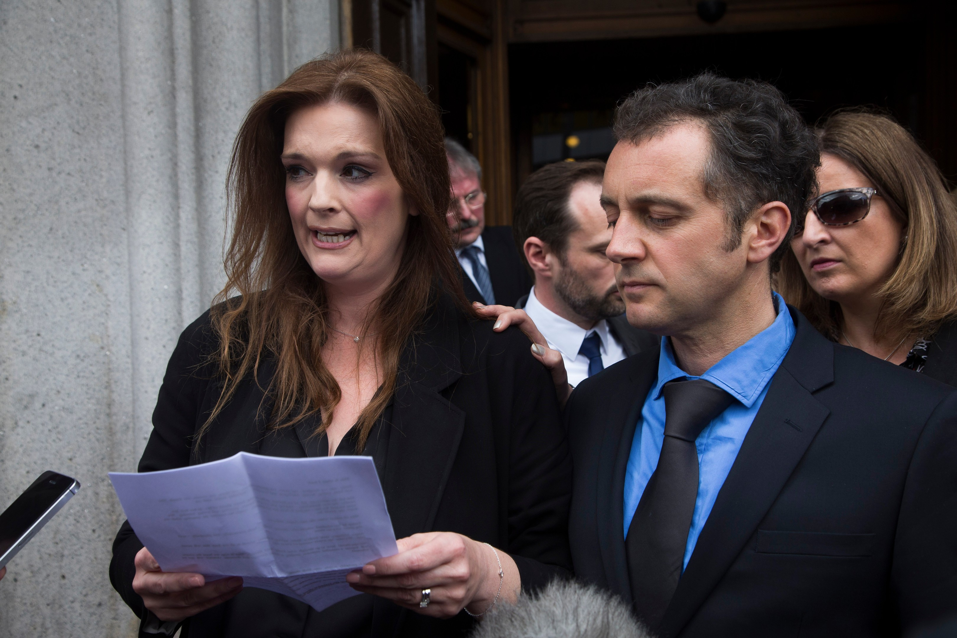 Emily's mum Fiona reads out a statement after Angus Milligan's trial.  Photo: Ross Johnston/Newsline Media