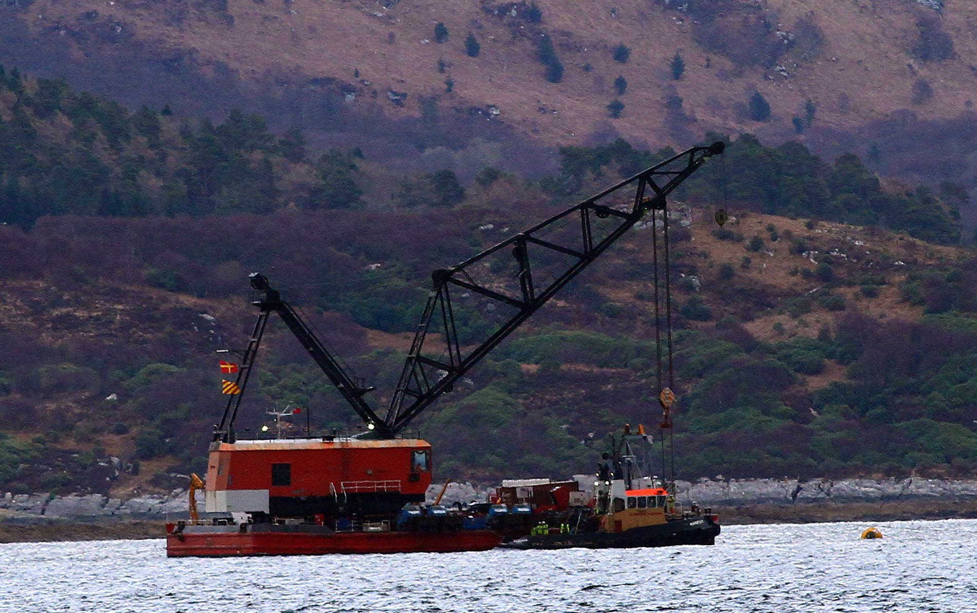 Crane in position to lift fishing vessel Nancy Glen. Picture credit: Kevin McGlynn.
