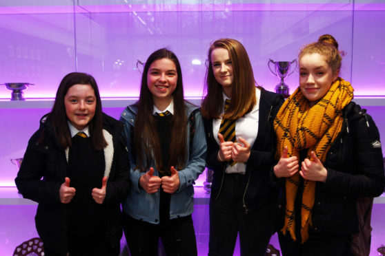 A group of senior girls delighted at to be in the brand new oban high school where pupils started back today from the easter holidays with a shiny new school pic kevin mcglynn