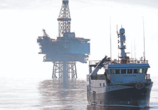 E45R11 Fishing vessel Harvester and the Jotun B oil production platform.