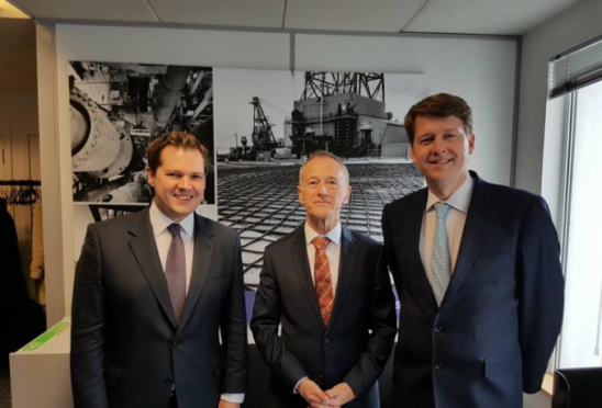 L-R. Exchequer secretary to the Treasury Robert Jenrick, upstream director at Oil and Gas UK Mike Tholen, and brexit minister Robin Walker