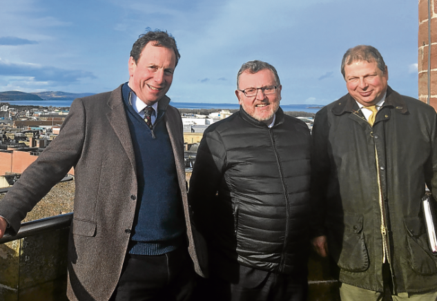 From left, David Whiteford, of the North Highland initiative, David Mundell, and city manager David Haas at Inverness Castle.