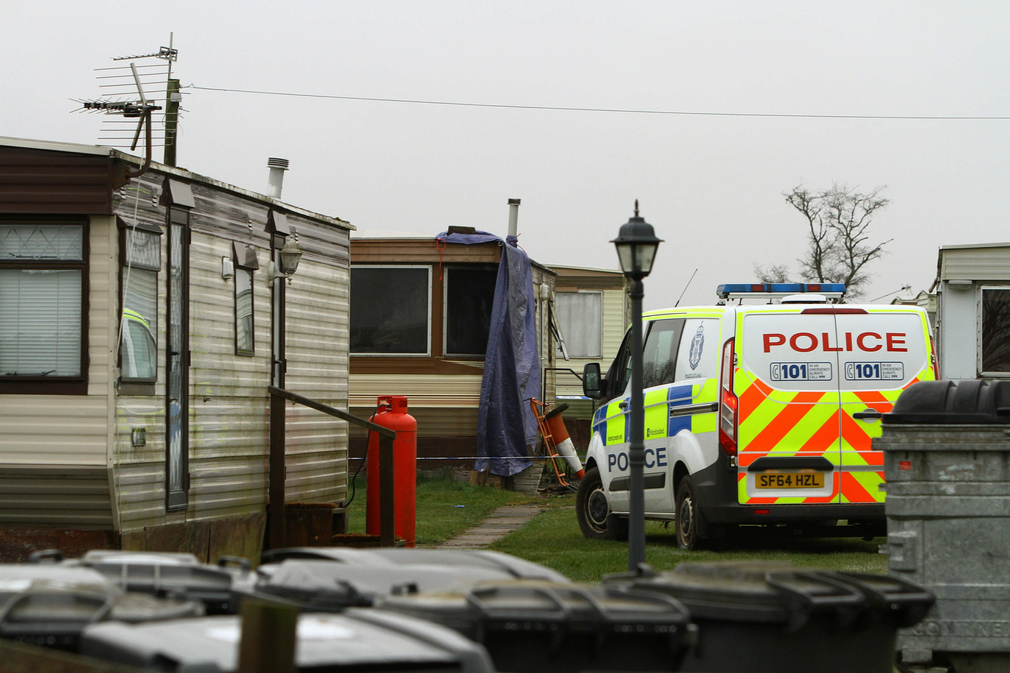 The scene of the fatal fire at Woodlea Caravan Park, outside Arbroath.