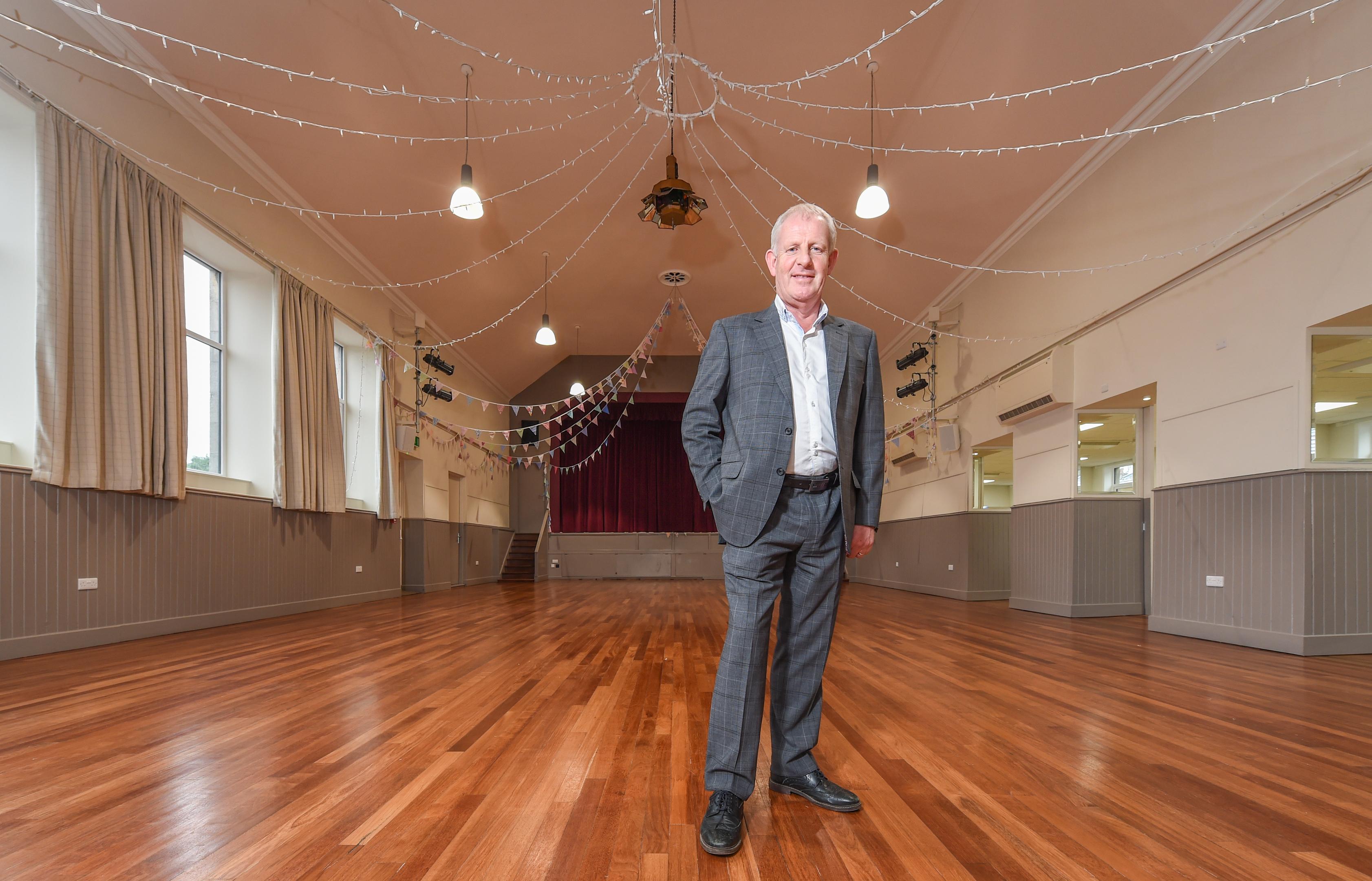 Gordon Christie, chairman of Fochabers Village Association, inside Fochabers Institute.