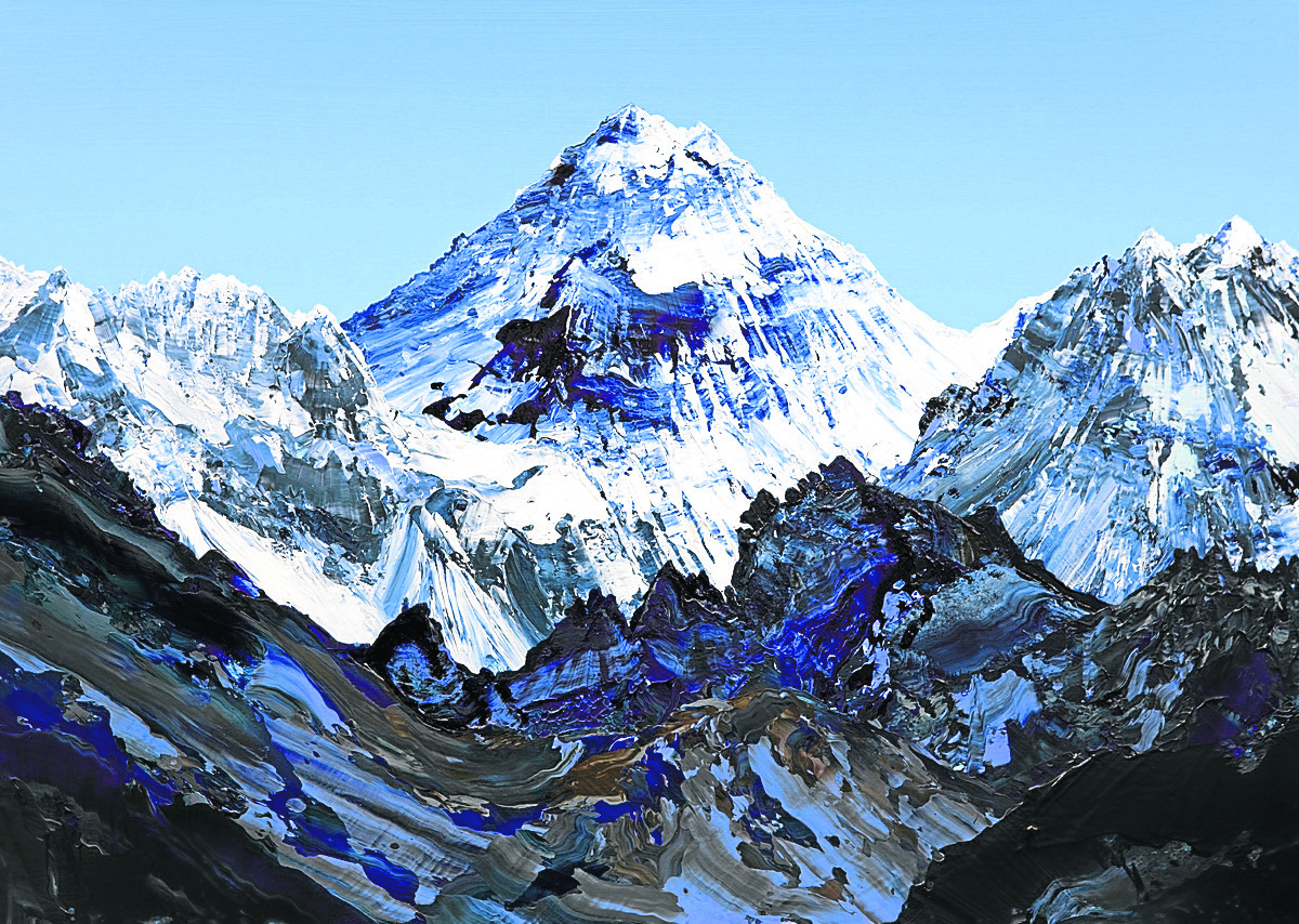 James Hawkins' first painting of Everest.