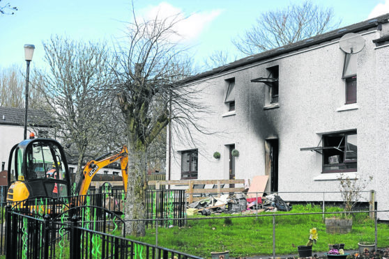 The house fire in Munro Crescent, Milton, in Easter Ross which gutted a family home.