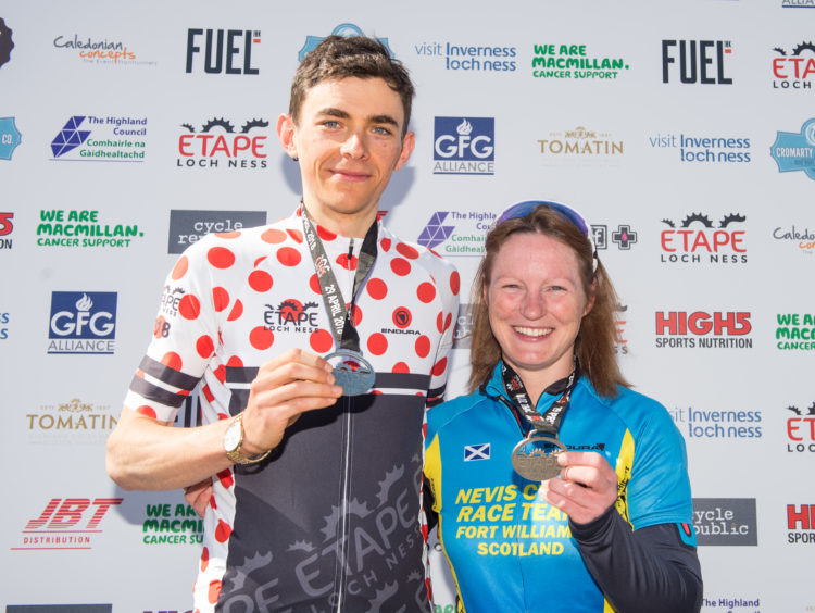 Picture by JASON HEDGES      Pictures show riders and medal winners from the 2018 Etape bicycle race in Inverness.  Picture shows: 1st male and 2nd female winners (Andy Cunningham and Marie Meldrum