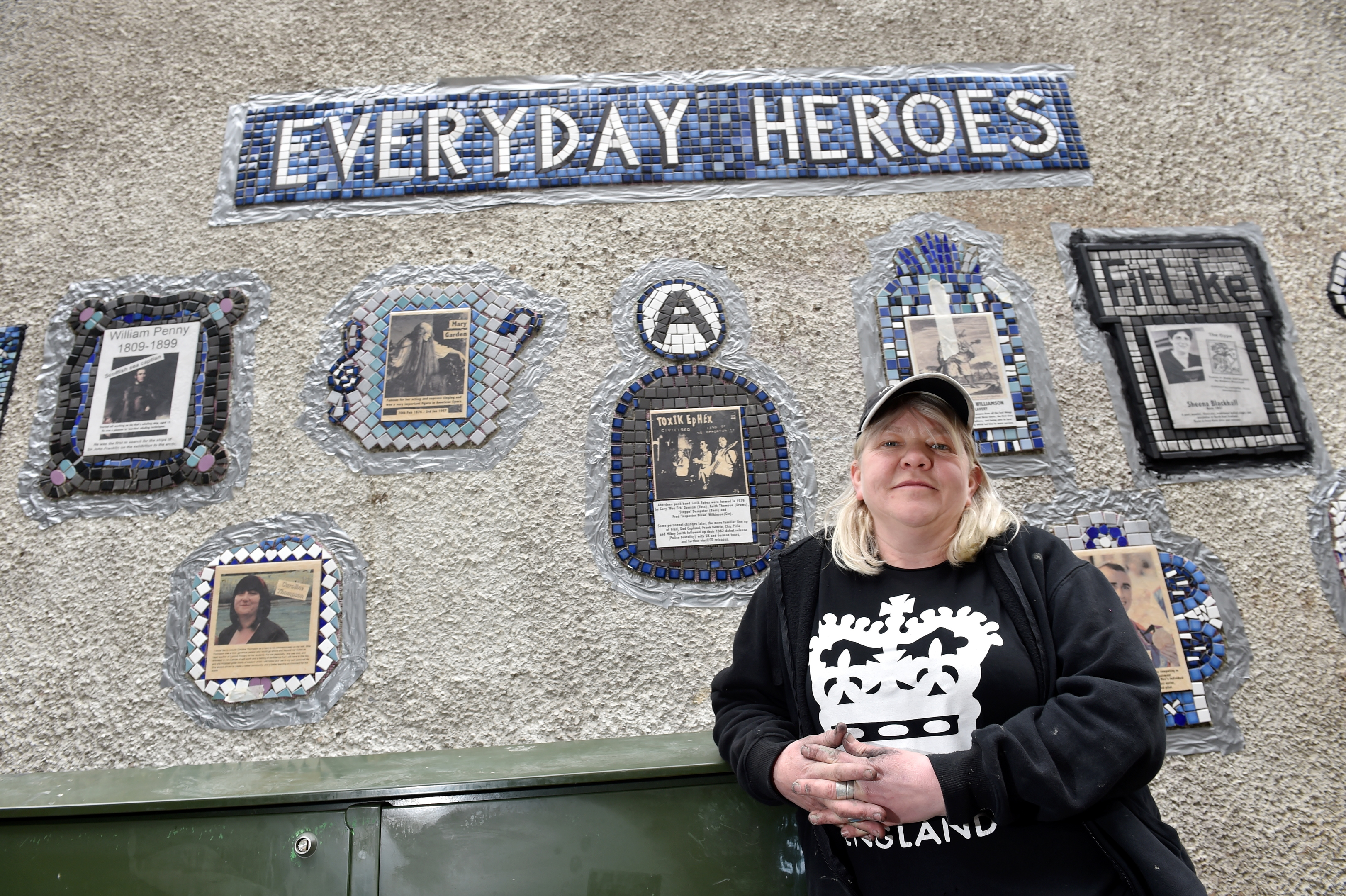 Nuart Aberdeen - A community mural highlights unsung heroes from Aberdeen's past and present to honour through a piece of ceramic art, developed by festival artist Carrie Reichardt and young people from Aberdeen unveiled at Rennie's Wynd. Picture of Carrie Reichardt.