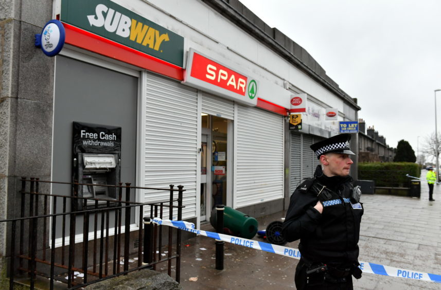 Police Scotland attend the scene of a robbery at the Spar on Clifton Road, Aberdeen.     Picture by Kami Thomson    06-03-18