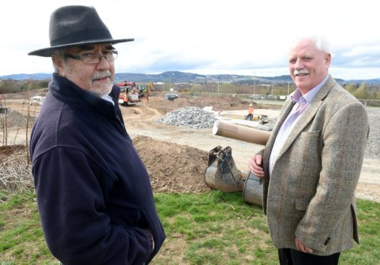 Thomas Prag (left) with Alan Jones, advisor to the Inshes Community Association for the design and building of their skate park in Inverness.