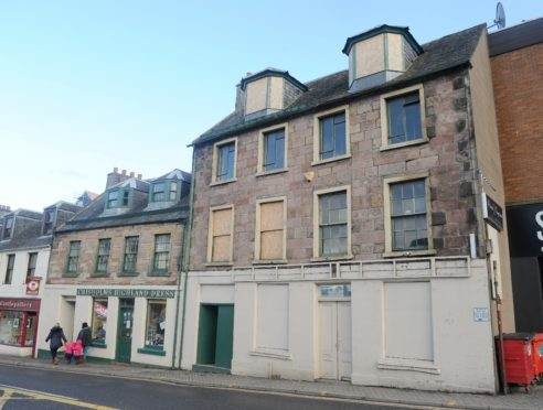 The former bridal wear shop in Castle Street, Inverness which had been served with a dangerous building notice.Picture by Sandy McCook