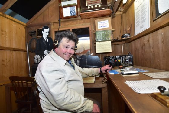 Heritage Society member Alexander Taylor in the Marconi exhibition