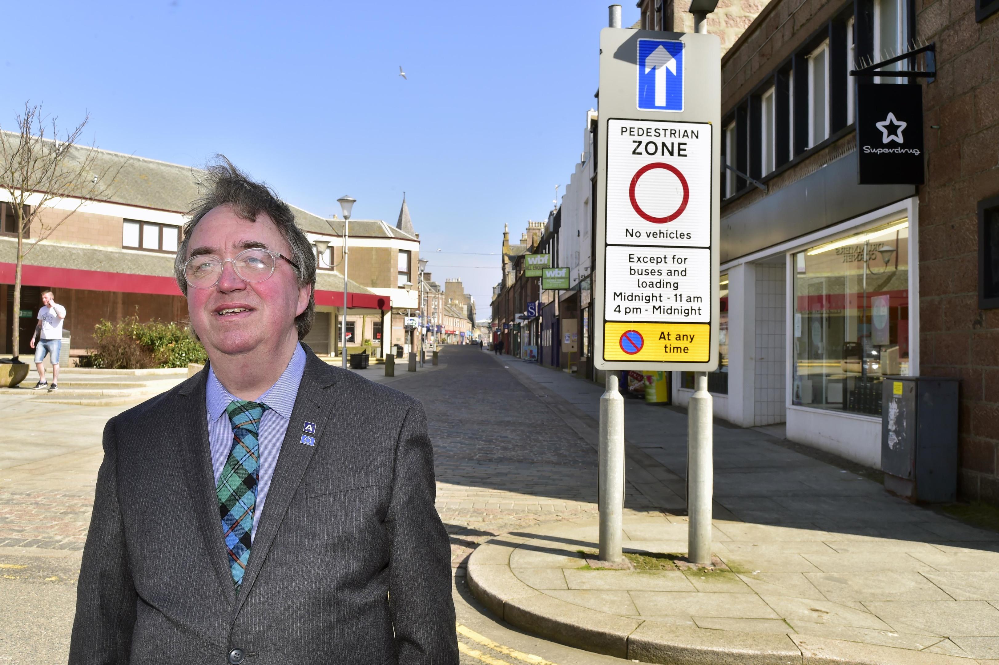 Councillor Stephen Calder at Drummers Corner in Peterhead.