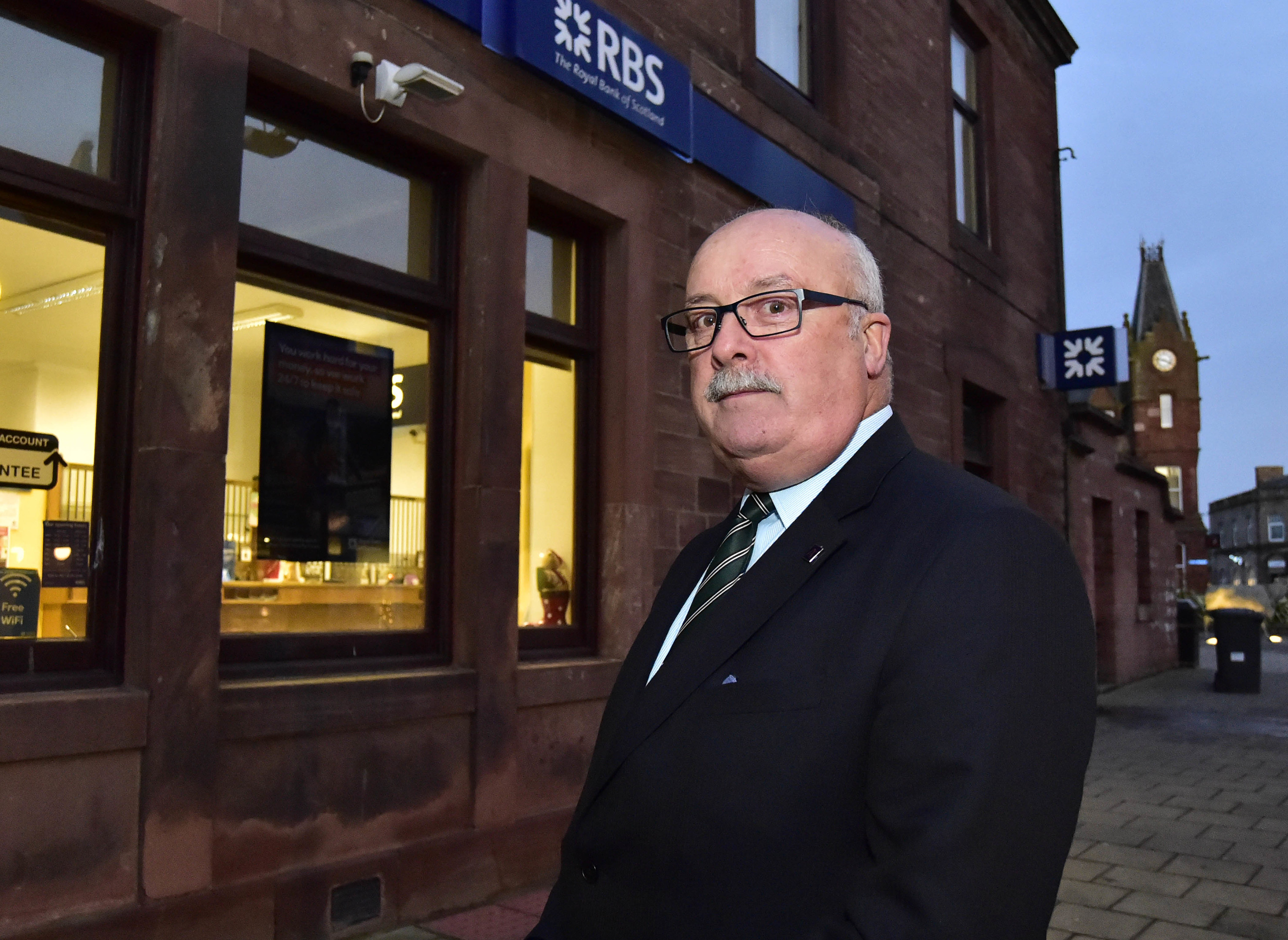 Cllr Alastair Forysth at the  RBS branch in Turriff.