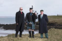 Point and Sandwick Trust chairman Angus McCormack, left, with representatives from the Lewis and Harris Piping Society. Picture credit: Sandie Maciver of SandiePhotos Photography.