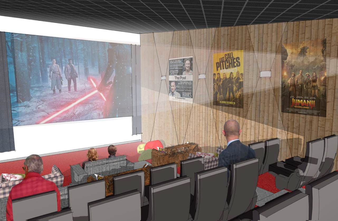 Artist impressions of a mini cinema, that may be built in Cromarty.