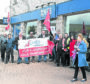 STUC and Unite Union members yesterday held a protest outside the Aviemore branch of the Royal Bank of Scotland which is due to close as part of the companies closure plans.