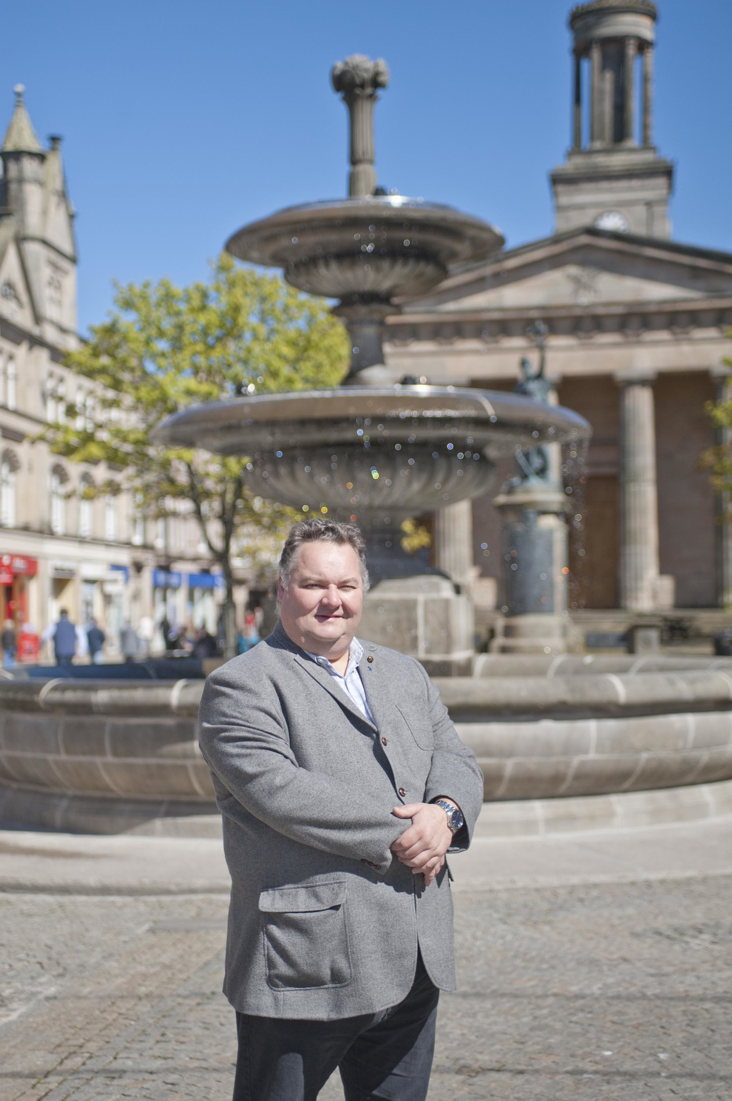 Councillor Graham Leadbitter at the fountain in Elgin.
