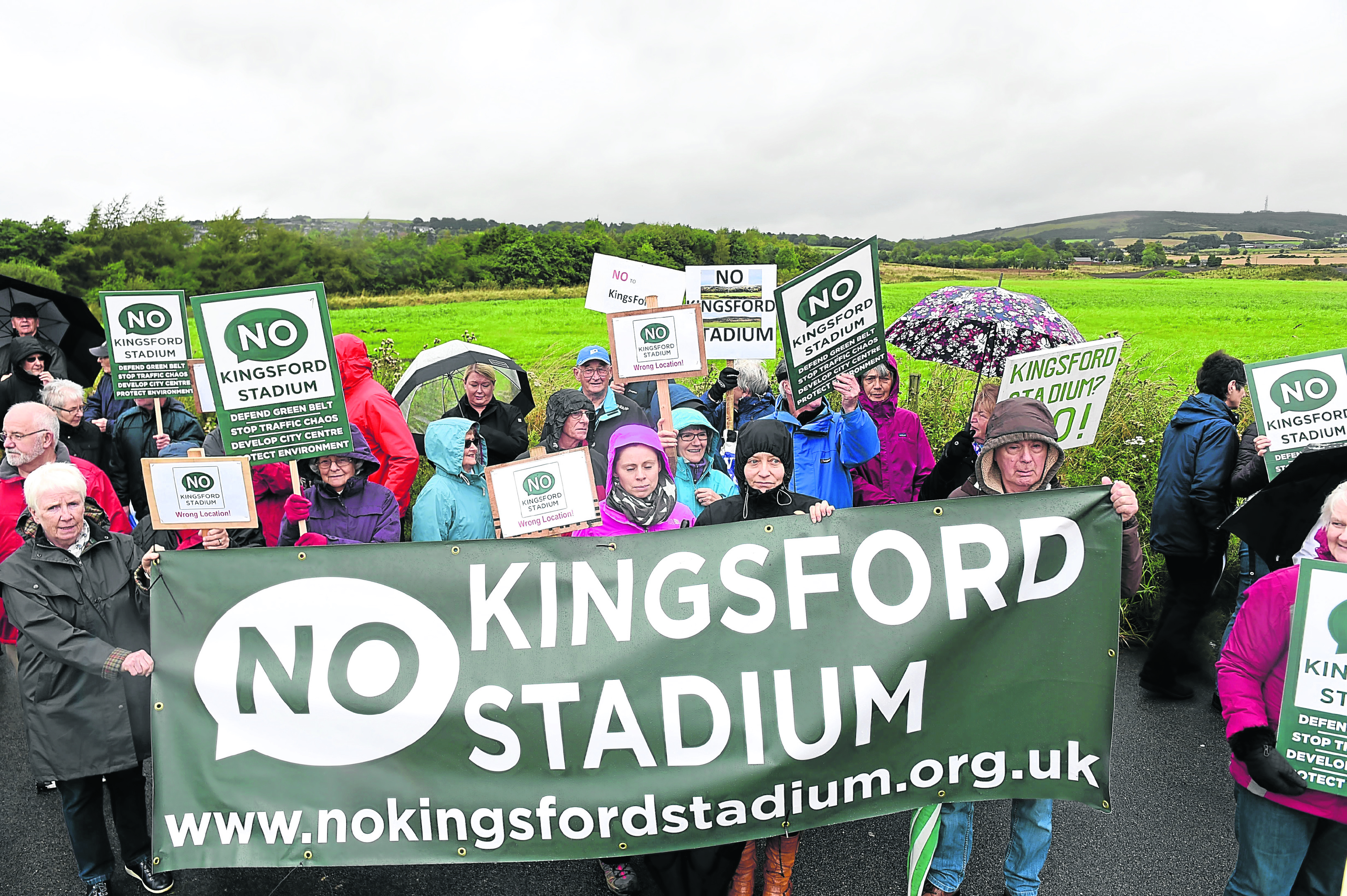 No Kingsford Stadium supporters as Aberdeen City councillors visit the Kingsford site between Westhill and Kingswells.