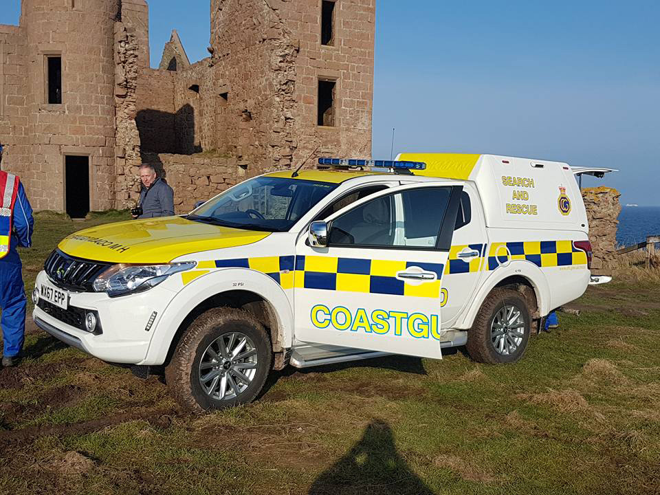 Search and rescue teams at Slains Castle after Scarlett the dog fell down the cliffs