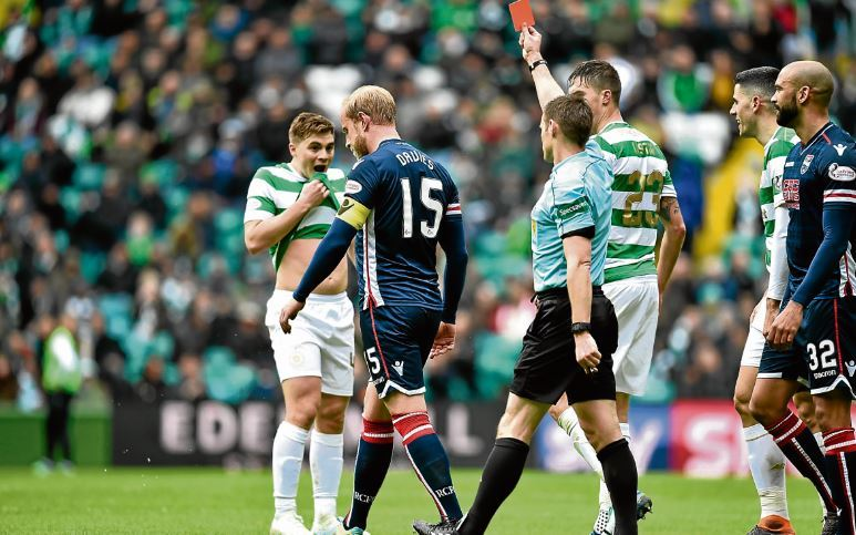 Staggies captain Andrew Davies, left, is sent off by referee Steven McLean at Parkhead