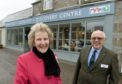 Clare Russell, Lord Lieutenant of Banffshire, pictured left, opened the refurbished Tomintoul Discovery Centre. Doug Nisbet, chairman of the Tomintoul and Glenlivet Development Trust, pictured right.