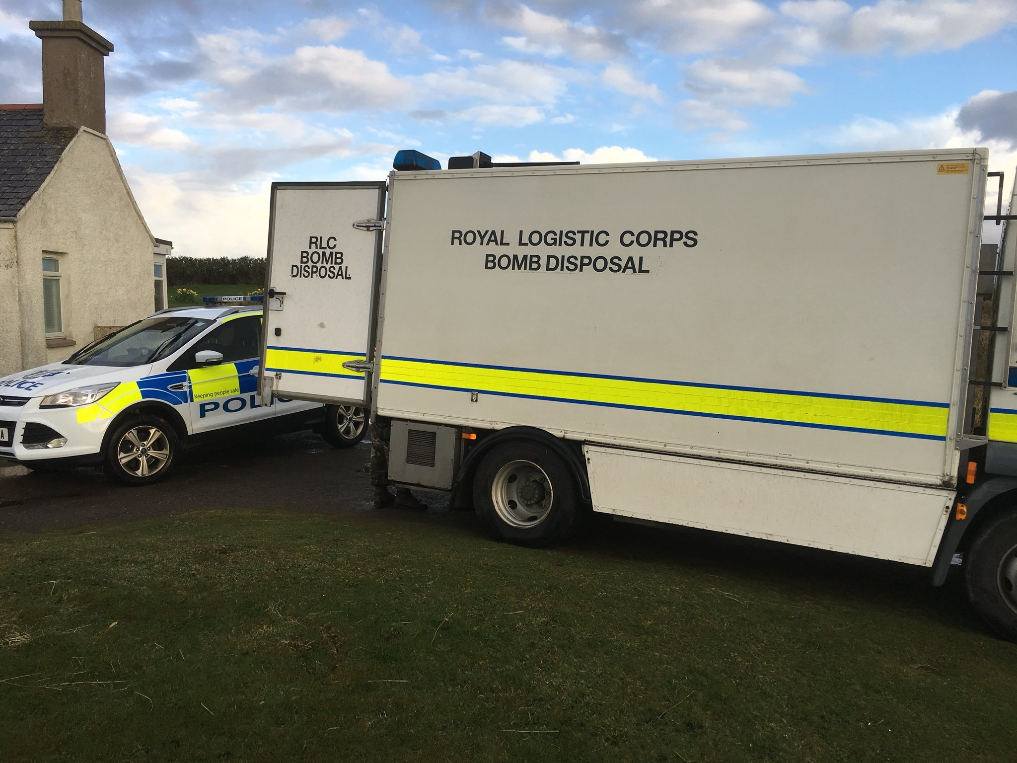 A specialist bomb disposal team was called to Collieston to destroy a Second World War ordnance.
